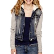 Wallflower Long-Sleeve Sherpa Hooded Denim Jacket