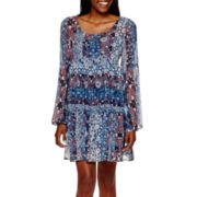 Olsenboye® Bell-Sleeve Empire-Waist Boho Dress