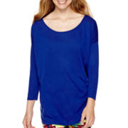 City Streets® 3/4-Sleeve Solid Knit Top