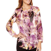 Liz Claiborne® Long-Sleeve Print Pleat-Neck Blouse