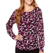 Liz Claiborne® Long-Sleeve Print Pullover Blouse