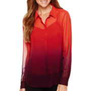 Liz Claiborne® Long-Sleeve Ombré Blouse