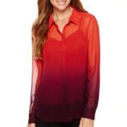 Liz Claiborne® Long-Sleeve Ombré Blouse