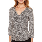 Liz Claiborne® 3/4-Sleeve Tie-Neck Knit Top