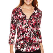 Liz Claiborne® 3/4-Sleeve Tie-Neck Knit Top