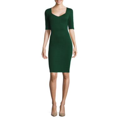 jcpenney.com | Bisou Bisou® Elbow-Sleeve Textured Dress