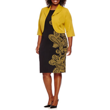 jcpenney.com | Maya Brooke 3/4-Sleeve Paisley Jacket Dress - Plus