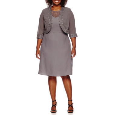 jcpenney.com | Maya Brooke 3/4-Sleeve Bead-Trim Fit-and-Flare Jacket Dress - Plus