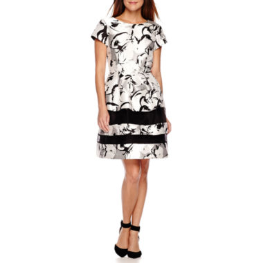 jcpenney.com | Scarlett Short-Sleeve Floral Print Fit-and-Flare Dress - Petite