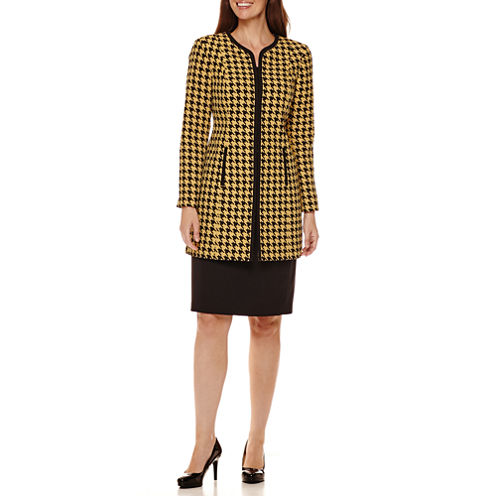R&K Originals® Houndstooth Long Jacket with Solid Skirt Suit