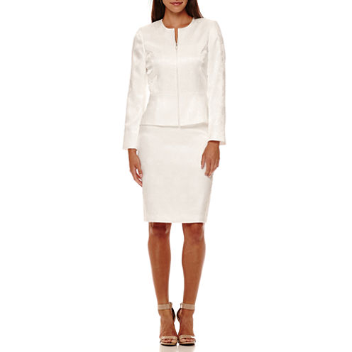 Chelsea Rose Long-Sleeve Jacquard Skirt Suit with Faux-Pearl Zipper