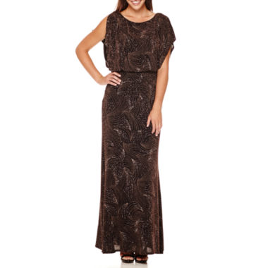 jcpenney.com | Signature by Sangria Dolman-Sleeve Glitter Bow-Back Blouson Formal Gown