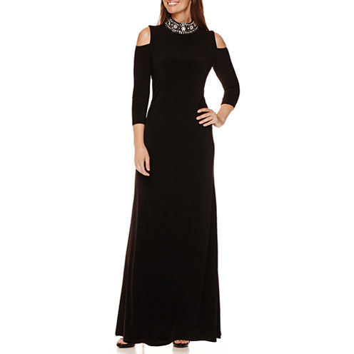 Blue Sage 3/4-Sleeve Cold-Shoulder Beaded Neck Formal Gown