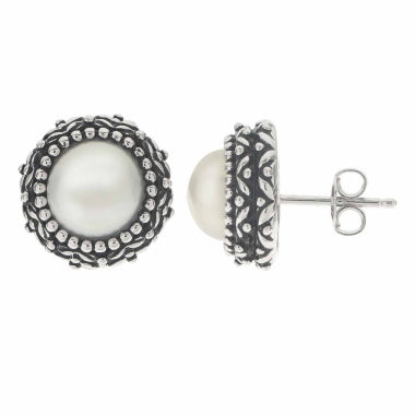 jcpenney.com | Cultured Freshwater Button Pearl Oxidized Sterling Silver Stud Earrings