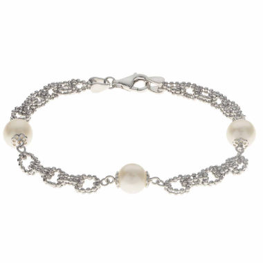 jcpenney.com | Cultured Freshwater Pearl Sterling Silver Station Chain Bracelet