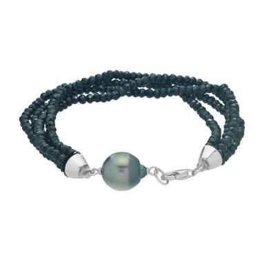 jcpenney.com | Genuine Tahitian Pearl & Black Spinel Sterling Silver Bead Bracelet
