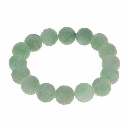Genuine Jade Carved Dragon Stretch Bracelet