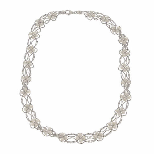 Cultured Freshwater Pearl Sterling Silver Lace Necklace