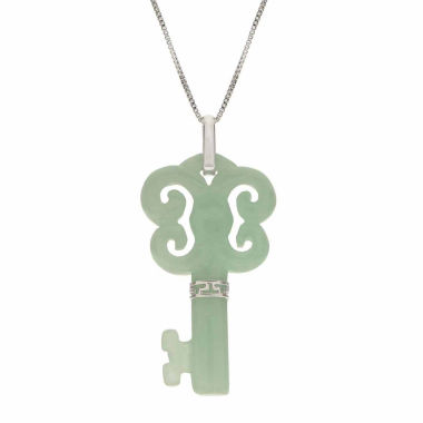 jcpenney.com | Genuine Jade Sterling Silver Butterfly Key Pendant Necklace