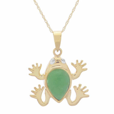 jcpenney.com | Genuine Jade & Diamond-Accent 10K Yellow Gold Frog Pendant Necklace
