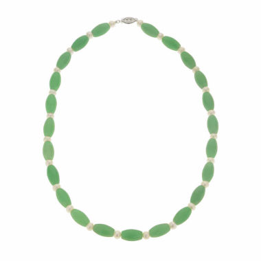 jcpenney.com | Cultured Freshwater Pearl & Genuine Jade Sterling Silver Necklace