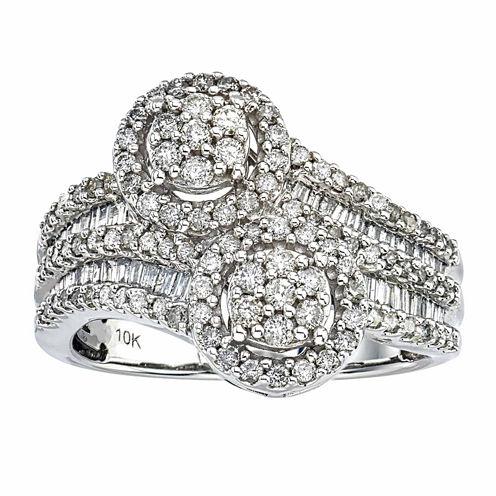 Diamond Blossom Womens White Diamond 10K Gold Cocktail Ring