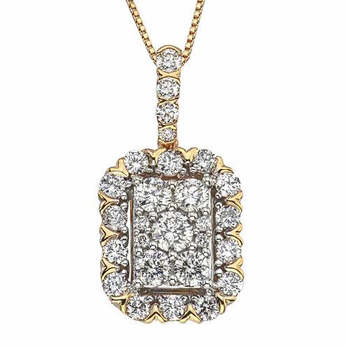 Diamond Blossom Womens 1 CT. T.W. White Diamond 14K Gold Pendant Necklace