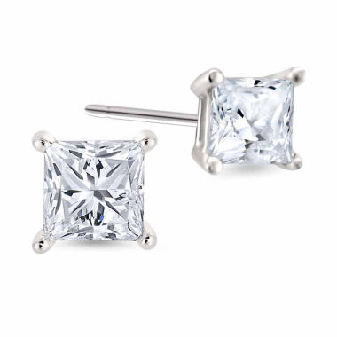 jcpenney.com | 1/3 CT. T.W. Princess White Diamond Platinum Stud Earrings