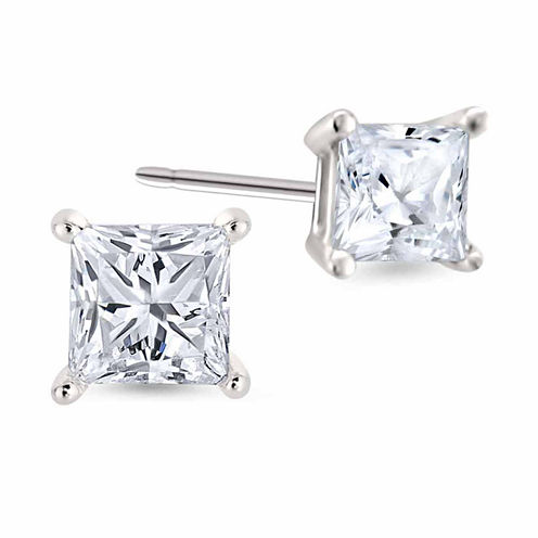 1/3 CT. T.W. Princess White Diamond Platinum Stud Earrings