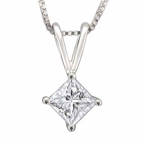 Womens 1/3 CT. T.W. White Diamond Platinum Pendant Necklace