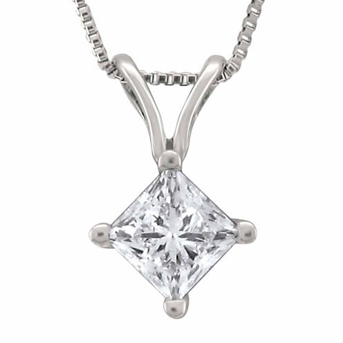 Womens 1/2 CT. T.W. White Diamond Platinum Pendant Necklace