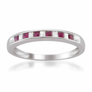 jcpenney.com | Womens 1/10 CT. T.W. Red Lead Glass-Filled Ruby 14K Gold Wedding Band