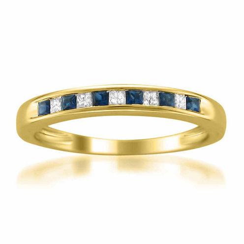 Womens 1/10 CT. T.W. Blue Sapphire 14K Gold Wedding Band
