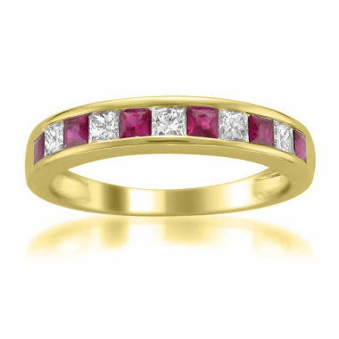 jcpenney.com | Womens 1/4 CT. T.W. Red Lead Glass-Filled Ruby 14K Gold Wedding Band