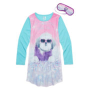 Sleep On It Dog Photoreal Long-Sleeve Sleep Shirt - Girls