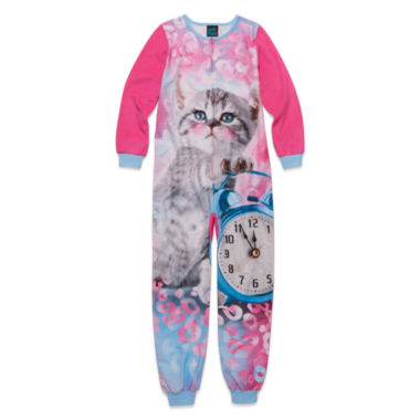 jcpenney.com | Long-Sleeve Fuchsia Cat Blanket Sleeper - Girls