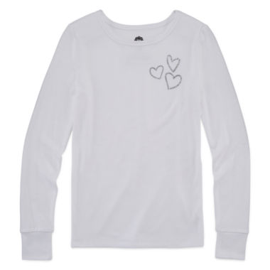 jcpenney.com | Total Girl White Heart Sleep Top - Girls