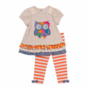 2-Pc. Short-Sleeve Owl Top and Leggings Set - Toddler Girls 2t-4t