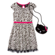 Lilt Short-Sleeve Cheetah Print Skater Dress with Kitty Purse - Preschool Girls 4-6x