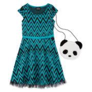 Lilt Short-Sleeve Chevron Skater Dress with Panda Purse - Preschool Girls 4-6x
