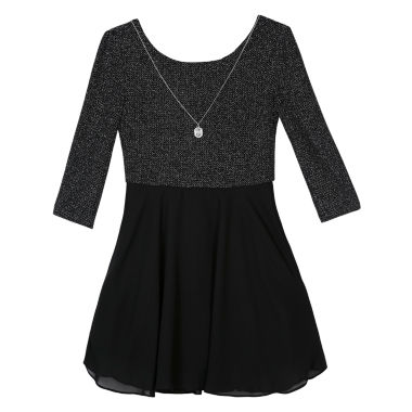 jcpenney.com | by&by girl 3/4 Sleeve Skater Dress