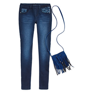 jcpenney.com | Squeeze Sequin Pocket Jeggings With Royal Blue Faux Suede Crossover Bag - Girls 7-14