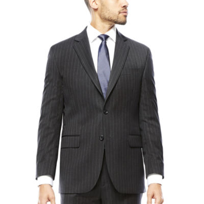 Stafford® Super 100 Charcoal Chalk-Stripe Wool Suit Jacket - Classic Fit