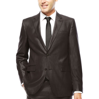 JF J. Ferrar® Charcoal-Black Plaid Suit Jacket - Slim Fit