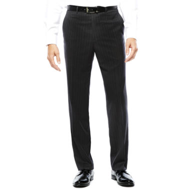 jcpenney.com | Stafford® Super 100 Charcoal Chalk-Stripe Flat-Front Wool Suit Pants - Classic Fit