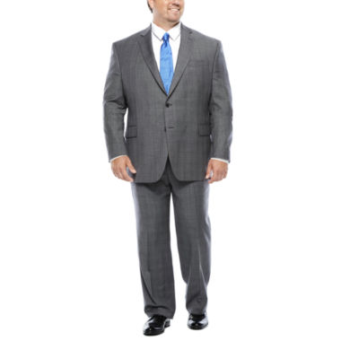 jcpenney.com | Stafford® Super 100 Gray Glen Check Suit Separates - Portly