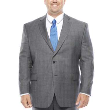 jcpenney.com | Stafford® Super 100 Gray Glen Check Wool Suit Jacket - Portly