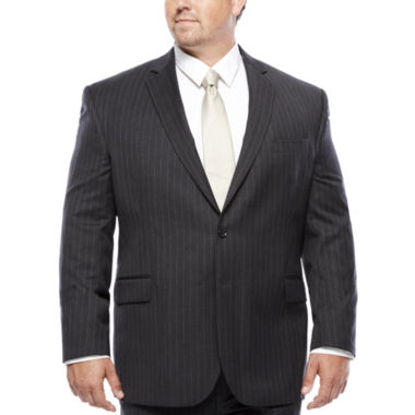 jcpenney.com | Stafford® Super 100 Charcoal Chalk-Stripe Wool Suit Jacket - Portly