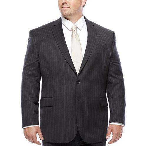 Stafford® Super 100 Charcoal Chalk-Stripe Wool Suit Jacket - Portly