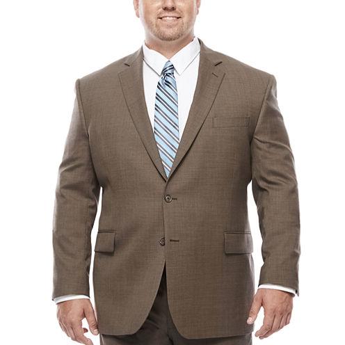Stafford® Travel Stretch Brown Sharkskin - Big & Tall Jacket